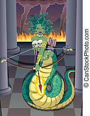 Medusa - The mythical Gorgon Medusa devastating temple of...