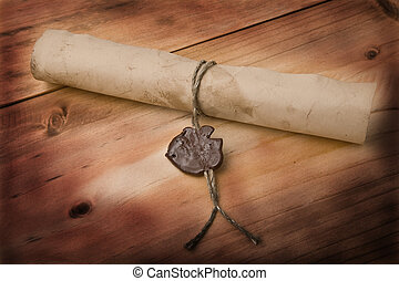 old letter on a wooden background