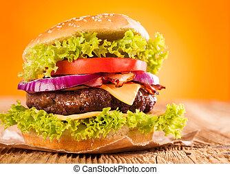 Fresh hamburger - Delicious hamburger on wood