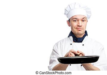 Chef, tenencia, freír, cacerola