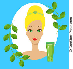 young woman and tube of cream,vector illustration
