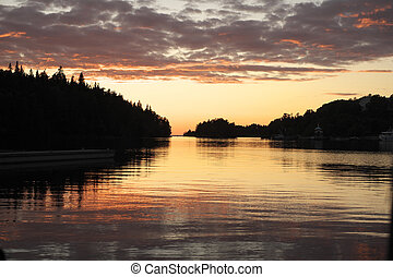 Valaam Monastery bay at sunset - Island Valaam Monastery Bay...