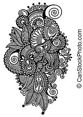 black line art ornate flower design, ukrainian ethnic style,...
