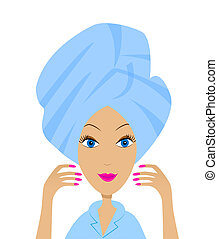 young woman with a towel on a head,vector illustration
