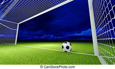 Soccer ball and goal on the football field at night sky