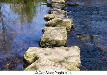 Stepping Stones - Stepping stones in the river Derwent Peak...