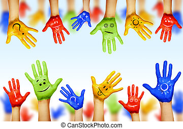 hands of different colors. cultural and ethnic diversity,...
