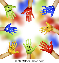 hands of different colors cultural and ethnic diversity,...