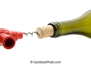 cork-screw and bottle on a white background