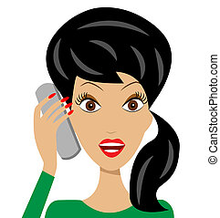 woman speak by phone - business woman emotionally speak by...