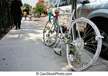 Soho memorial bicycle - A ghost bike memorial for a killed...