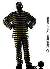 man prisoner criminal with chain ball silhouette