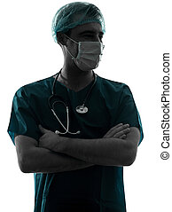 doctor surgeon man portrait with face mask silhouette