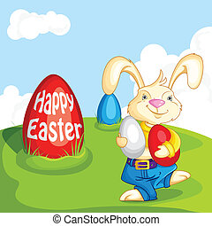 Bunny walking with Easter Egg - easy to edit vector...