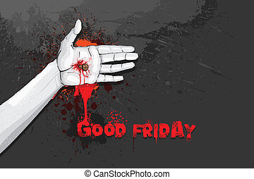 Good Friday - easy to edit vector illustration of hand...