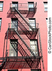 Red fire scape, NY - Harlem fire scape, Soho, New York, USA