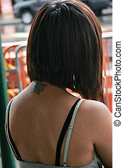 Chinatown girl - Beautiful Asian girl with tattoo on her...