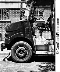 Freight Truck in Soho - Freight Truck outside Soho Building,...