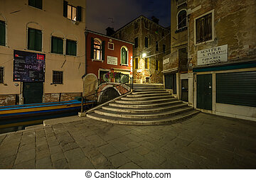 italy - venice at night - alley in the romantic italian city...