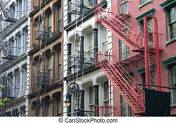 Soho colors - Four colorful, blue, brown, white and red...