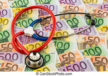 stethoscope and euro bills symbolic photo for healthcare...