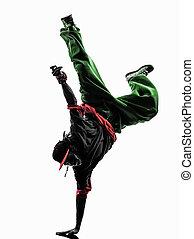 cadera, salto, acrobático, Interrupción,...