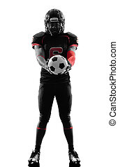 american football player holding soccer ball silhouette -...