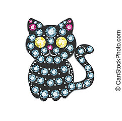 Gem Cat - cat made of colored gems