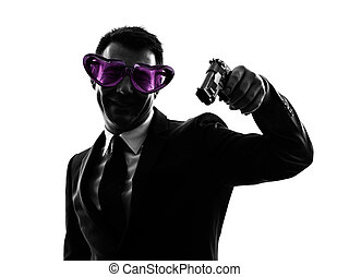 business man heart shaped glasses aiming silhouette