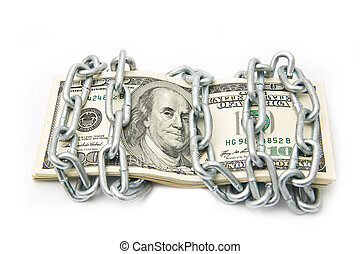 dollars in a chain on a white background