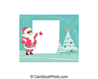 Merry Christmas Greeting With Santa Toasting By A Tree - vector