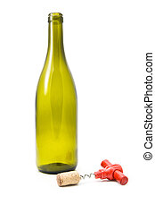 cork, cork-screw and bottle on a white background