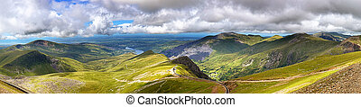 Snowdonia - Panorama of the mountains of Snowdonia, looking...