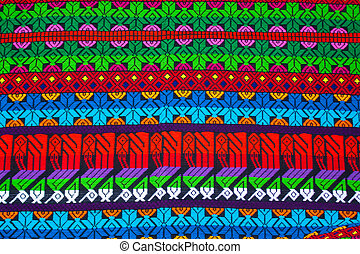 Mayan ornament on a blanket at Chichicastenango market...