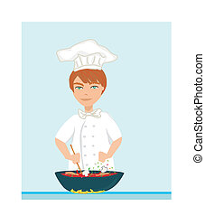 illustration of young kitchen chef cooking soup
