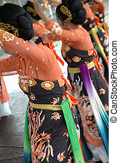 traditional dancer from west java-indonesia performing local...