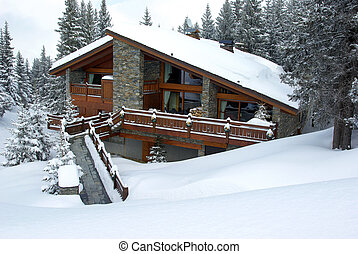 Nice chalet - Luxurious chalet covered with snow in a skiing...