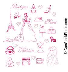 Fashion Paris doodle set