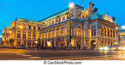 vienna austria opera - the opera in vienna, austria evening...