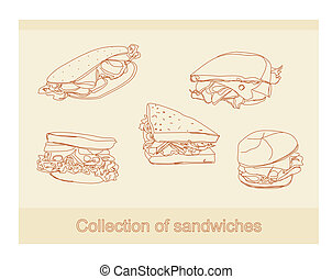 Collection of sandwiches doodle set