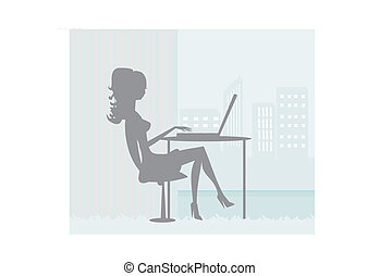 silhouettes secretary working with computer in the office