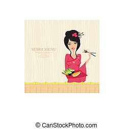 beautiful Asian girl enjoy sushi - menu card