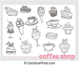 Sweet food design elements set
