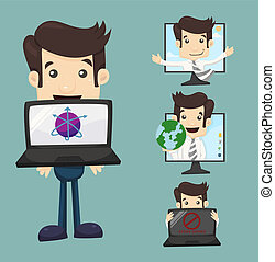 Businessman with computer , eps10 vector format