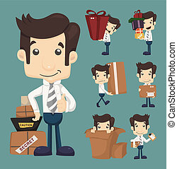 Set of businessman moving office and packing in boxes...