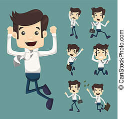 Set of businessman leaping characters poses , eps10 vector...
