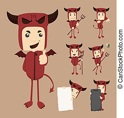 Set of devil characters poses , eps10 vector format