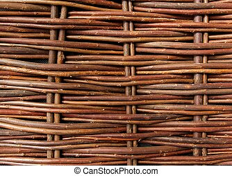Close Up Of Woven Willow Fence - Close Up Of Natural Woven...