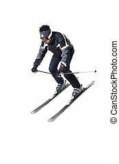 One male skier skiing with full equipment on a white...