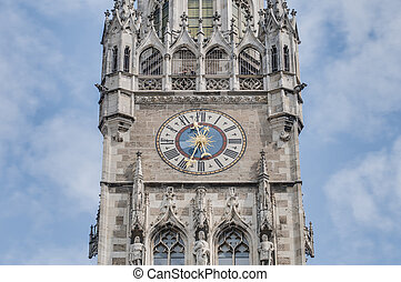 Neues Rathaus building in Munich, Germany - Clock on the...
